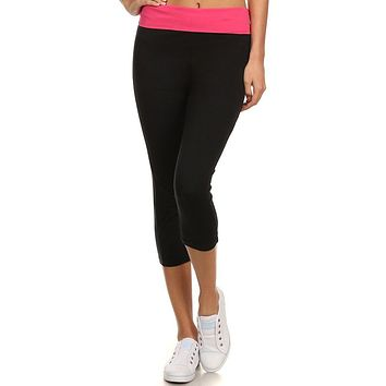 Solid Banded Fold Over Capri Length Workout Yoga Pants