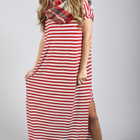 sealed with a stripe dress - red