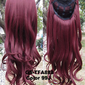 "HOT 3/4 Half Long Curly Wavy Wig Heat Resistant Synthetic Wig Hair 200g 24"" Highlighted Curly Wig Hairpieces with Comb Wig Hair GS-TFA888 99J"