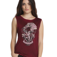 Harry Potter Gryffindor House Crest Oil Wash Girls Muscle Top