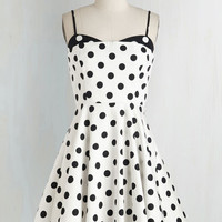 Vintage Inspired Mid-length Spaghetti Straps Fit & Flare Connecticut the Dots Dress by ModCloth