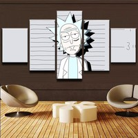 5 Pieces Rick And Morty Pictures Living Room Wall Art Cartoon Comic Poster Frame