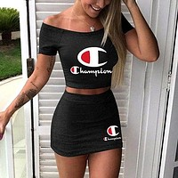 Champion Tide Brand Female Print Letter Sexy Skirt Set Two-piece