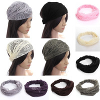 Fashion Boho Chic Bandanas Lace Head Wraps Women Lady Girls Wide Headband Gift = 1958034180