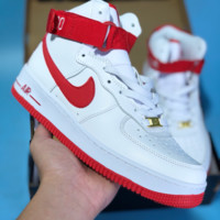 DCCK2 N452 Nike Air Force 1 Just Do It AF1 High Casual Sports Skate Shoes White Red