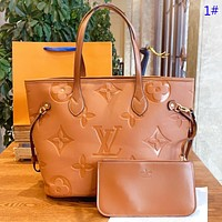 Hipgirls LV Louis vuitton Fashion New Monogram Leather Shopping Leisure Shoulder Bag Handbag Two Piece Suit 1#