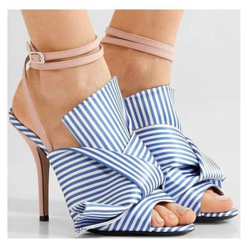 Stiletto Heel Peep-toe Ankle Strap Stripes High Heels Sandals