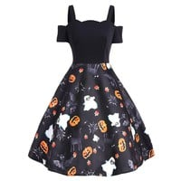 2018 Women Off Shoulder Summer Dress Ladies Pumpkin Print Robe Vintage 50s Rockabilly Swing Retro Halloween Party Dresses