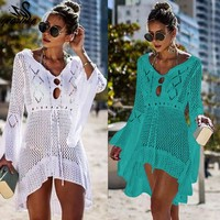2019 New Summer Dress Crochet White Knitted Beach Cover Up Dress Tunic Long Pareos Bikinis Cover ups Swim Cover up Robe Plage Beachwear