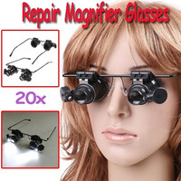 Watch Repair Glasses Style Magnifier Loupe 20X With LED Light Home & Tools H8129 = 1652511492