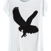 ROWME Eagle Embroidered White Loose T-shirt