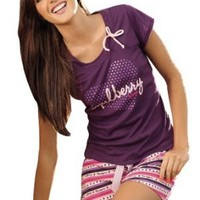 Laura Women's Mulberry Purple Pink Sleepwear T-Shirt Short Set SL504031