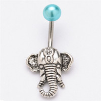 Vintage Classic Elephant Navel Belly Button Rings Steel Belly Bars Navel Piercing S Body Jewelry SM6