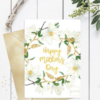 Happy mothers day card printable, Mothers day card floral watercolor magnolia, Cute mothers day greeting card for friend, for aunt, for wife