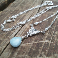 Victorian Frozen Teardrop Aquamarine and Pearl Necklace by Quintessential Arts