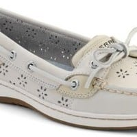 Sperry Top-Sider Angelfish Floral Perf Leather Boat Shoe WhitePerfLeather, Size 11M  Women's Shoes