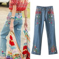 Autumn Heavy Work Embroidery Boot Cut Pants Jeans [8173531975]