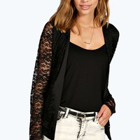 Evie Collarless Lace & Scuba Blazer