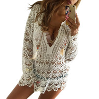Summer style boho crochet white lace blouse shirt Sexy hollow out long sleeve blouses Women tops girls vintage renda blusas
