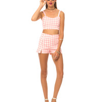 Motel Dixie Short And Josie Crop Top Pack in Pink Gingham