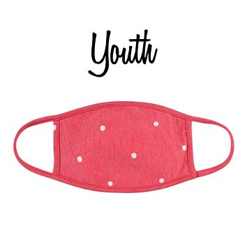 Youth Red Polkadot Face Mask with Filter Pocket - Covid 19