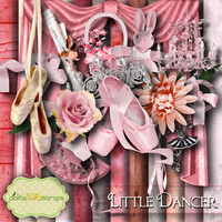 Ballet Dance Kit - Little Dancer - Digital Scrapbook Kit - Pointe Shoes - Printable Backgrounds - 12x12 inch Papers - FREE Quickpage Layout