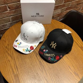 """New York Yankees"" Unisex Fashion Flower Letter Embroidery Baseball Cap Couple Peaked Cap Sun Hat"