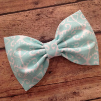 Mint aqua aztec fabric hair bow rockabilly retro pinup