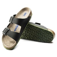 DCCK1 Birkenstock Arizona Soft Footbed Birko Flor Embossed Desert Soil Black 1005714 Sandals