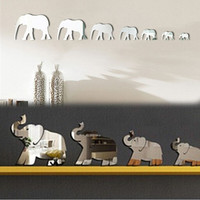 Cute Decal Elephants Mirror Wall Sticker