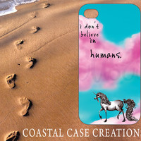 Apple iPhone 4 4G 4S 5G Hard Plastic or Rubebr Cell Phone Case Cover Original Trendy Stylish Colorful Pink Clouds Unicorn Quote Design