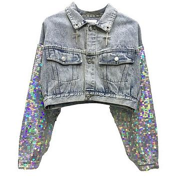 Disco Denim Crop Jacket