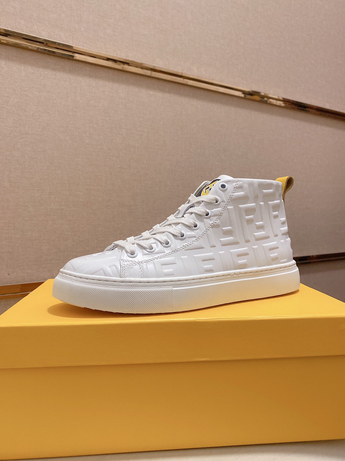 Image of Fendi Men's Leather Fashion High Top Sneakers Shoes