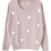 Nursery Rhymes Sheep Pattern Oversized Sweater in Pale Pink | Sincerely Sweet Boutique