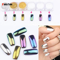 6pcs/pack Mirror Powder Pigment Nail Glitter Nail Art Chrome Effect Magic Mirror Powder For Nail Polish Nail Accesories