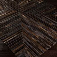 Appalachian Area Rug | Brown Hides and Leather Rugs Hand Crafted | Style APP1001