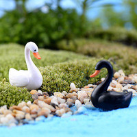 White/Black Swan Garden Decor Ornament Miniature Figurine Plant Pot Fairy 3C02