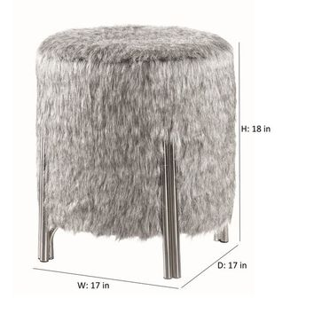 Strick & Bolton Teddy Grey and Chrome Upholstered Ottoman | Overstock.com Shopping - The Best Deals on Ottomans