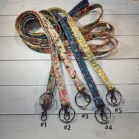 Sale - Skinny floral Lanyard  ID Badge Holder -  Lobster clasp and key ring New Thinner  Design - vintage inspired flowers tiny flower