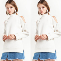 Fashion White Women High Collar Neck Long Sleeve Off Shoulder Solid Sweatshirt Jumper Shirt Top Blouse _ 10240
