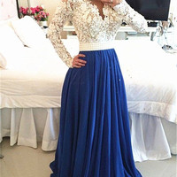 Custom Made A Line Long Sleeves White and Blue Lace Prom Dresses, Lace Formal Dresses
