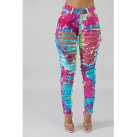 SPLASH OF COLOR DISTRESSED JEANS