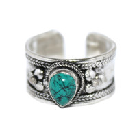 Teardrop Turquoise Ring Silver ring Handmade Ring Tribal Ring