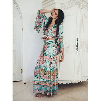 """Spell And The Gypsy For Free People """"Lotus"""" Tie Front Kimono Top And Double Slit Maxi Skirt Set Color Peacock Size XS Small Medium Or Large"""