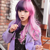 Lolita Lady Long Curly Wavy Hair Full Wig Purple+Pink Anime Costume Party New