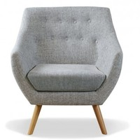 Poet Armchair, Grey Single Tone