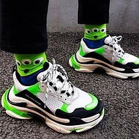 BALENCIAGA Triple S High Quality Women Contrast Color Shoes Sport Sneakers White&Black&Green