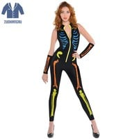 Women Halloween Jumpsuits Costumes Ghost Festival Horror Skeleton Conjoined Gowns Party Sexy Performance Dress Scary Costumes