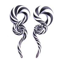 Glass Taper Swirl Spiral Zebra Stripes Plugs Ear Gauges Treble Hanger 2G (6mm) Stretch 2PC
