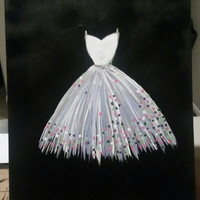 Hand painted wood framed canvas - Wedding dress